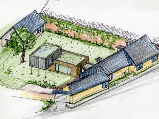 Perspective du jardin avec l'extension