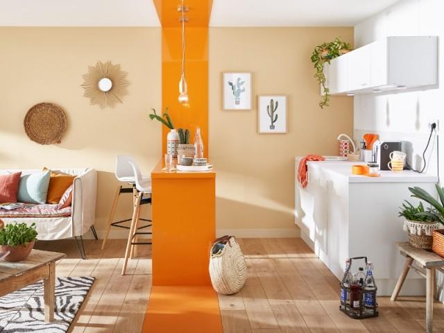 Une bande orange pour symboliser le coin repas