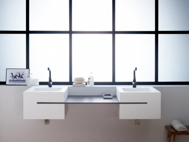 Un duo de vasques carrées pensé pour deux