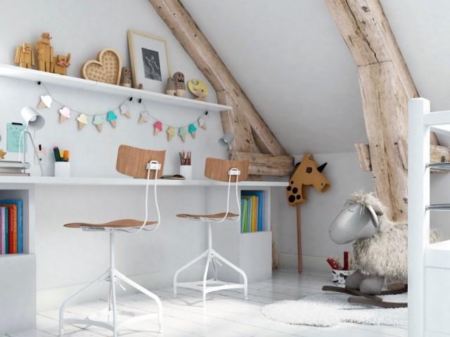 Un bureau pour deux enfants aménagés dans les combles