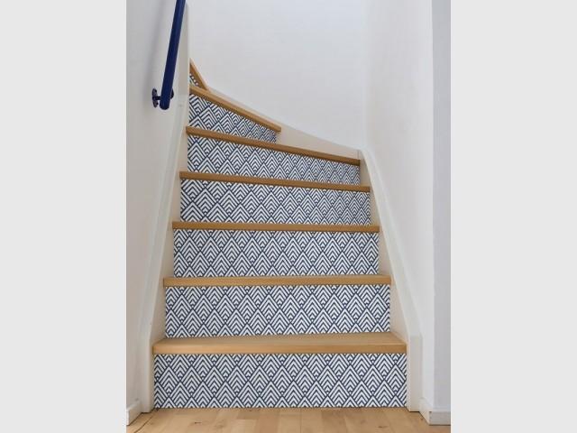 Sur la contre-marche, pour un escalier détonnant