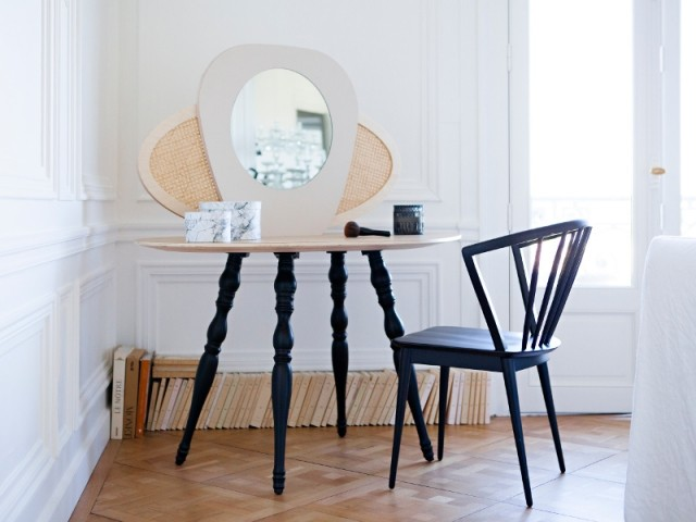 Coiffeuse Marceline avec miroir et cannage, 629 €