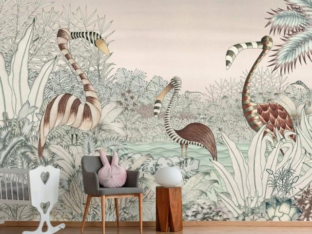 """Un panoramique """"jungle"""" dans la chambre des enfants"""