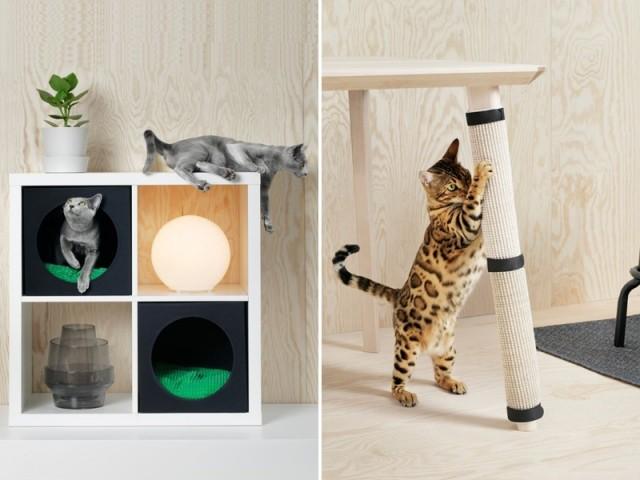 Maison pour chat, et griffoir, collection Lurvig, Ikea; prix : 10,98 € et 4,99 €