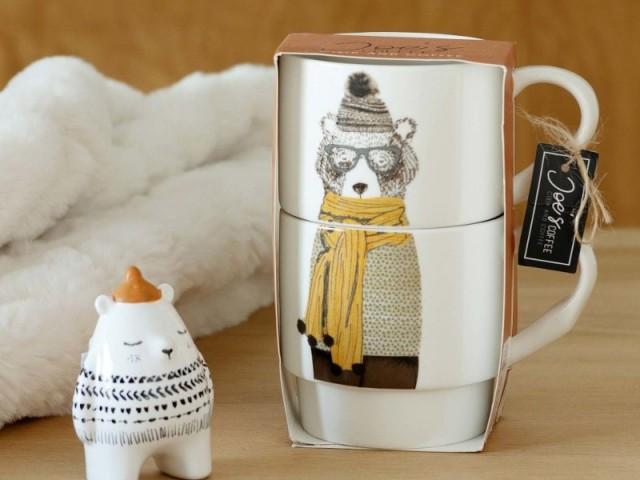 Coffret de 2 mugs en porcelaine imprimé ours, 8,99 €
