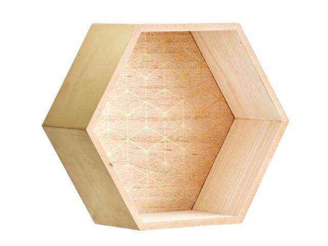 Etagère hexagonale champage, 5,99 €