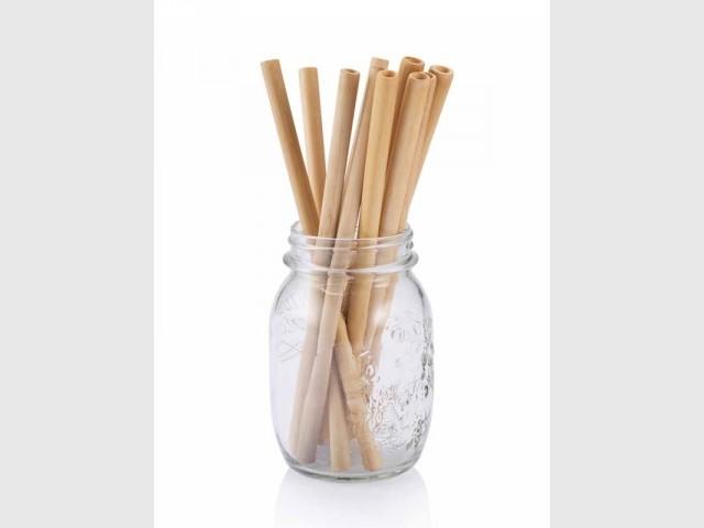 Lot de 6 pailles en bambou et leur brosse, 7,90 €