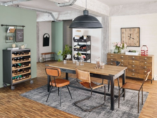 Danny, meuble range-bouteilles en métal gris et manguier, 499 €