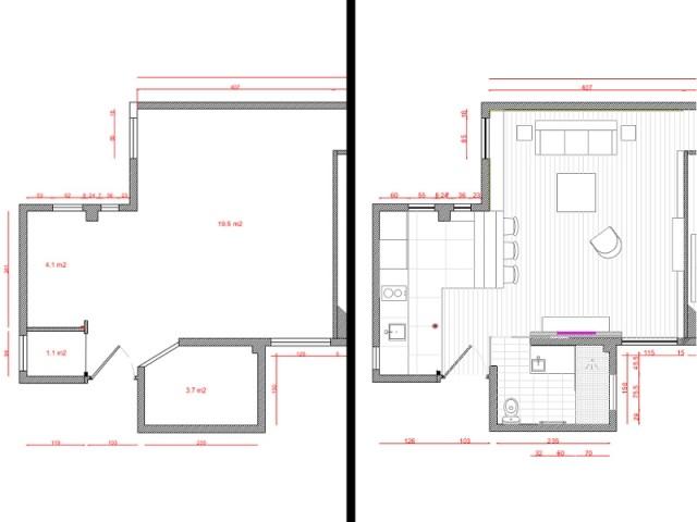 Plans avant et après la rénovation