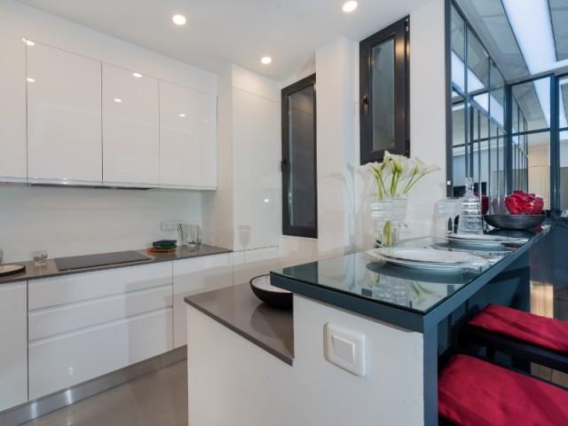 Deux fenêtres façon verrière dans la cuisine