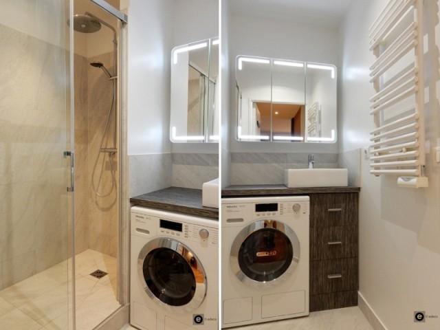 Après : une salle de bains optimisée  - Après : une salle de bains modernisée