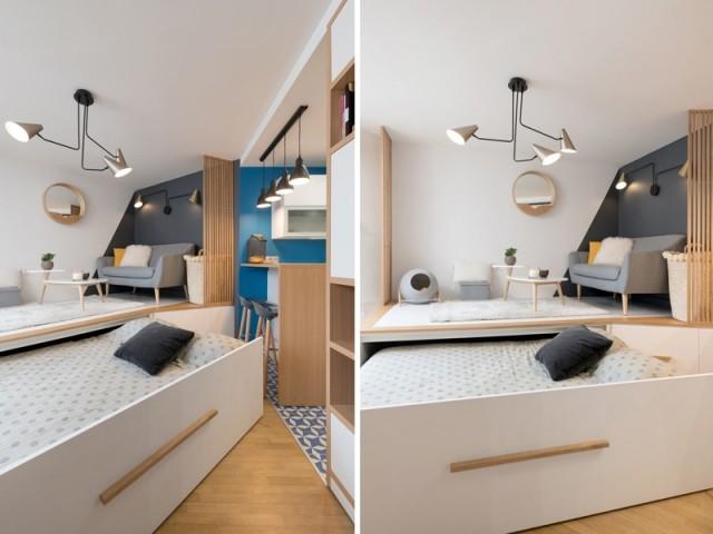 Aménager une vraie chambre dans un studio : 15 exemples astucieux