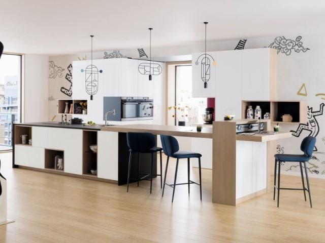 Une cuisine découpée en trois parties