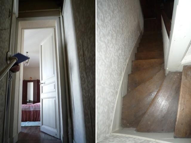 Avant : une cage d'escalier sombre et exiguë