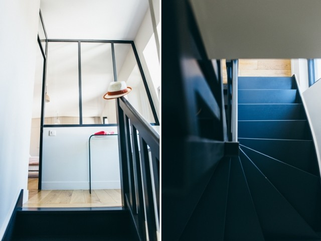 Après : une cage d'escalier aérée et lumineuse