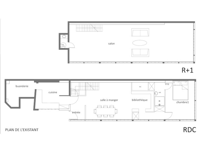 Plans de la maison avant l'intervention de l'architecte
