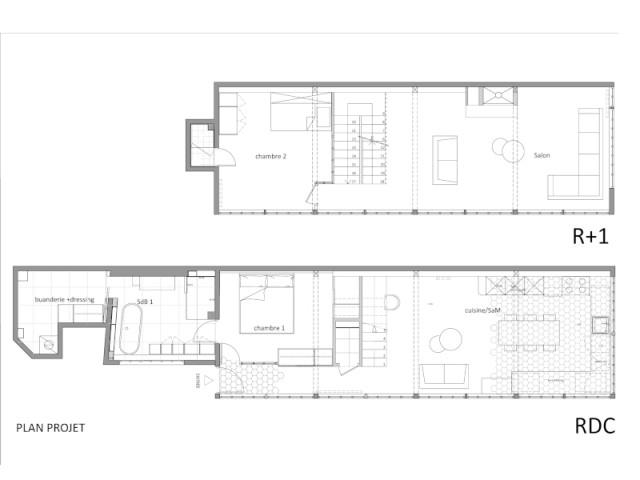 Plans de la maison après l'intervention de l'architecte, avec déplacement de l'escalier