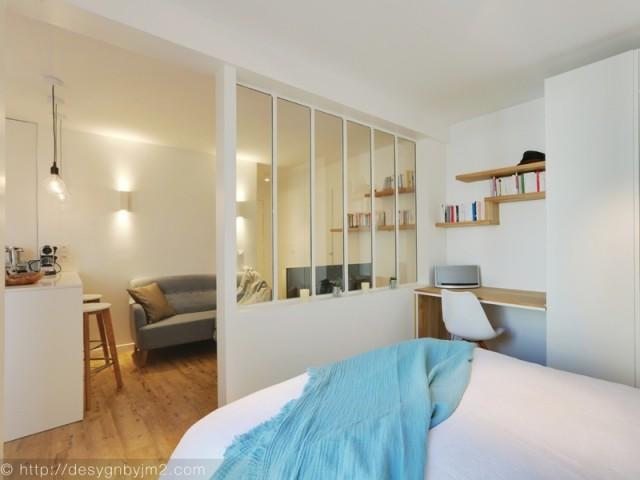 Après : une chambre séparée par une verrière