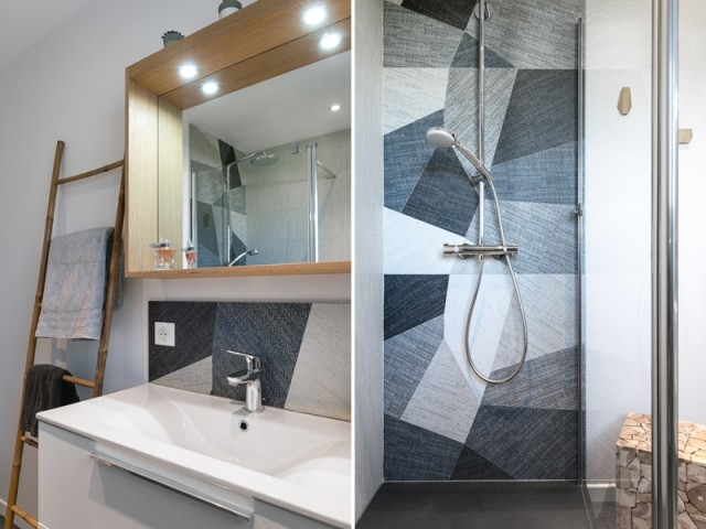 Après : une salle de bains contemporaine et lumineuse