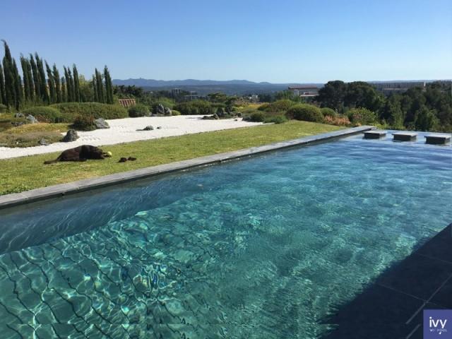 Une piscine familiale aux accents contemporains avec fond mobile