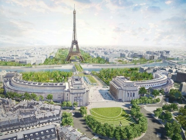 Vue aérienne du projet de parc : Site Tour Eiffel