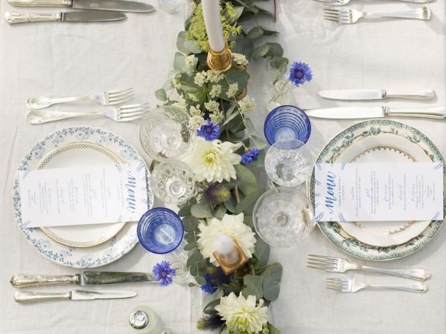 Une déco de table vintage bleu et blanc - Vaisselle ancienne et table Vaisselle Vintage