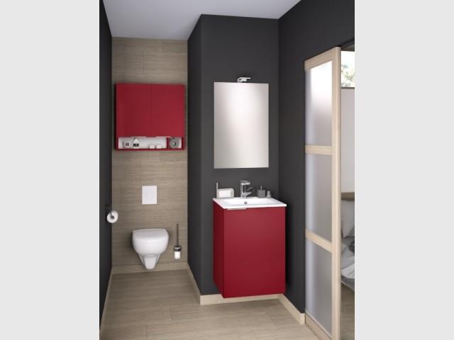 Un meuble au-dessus des toilettes