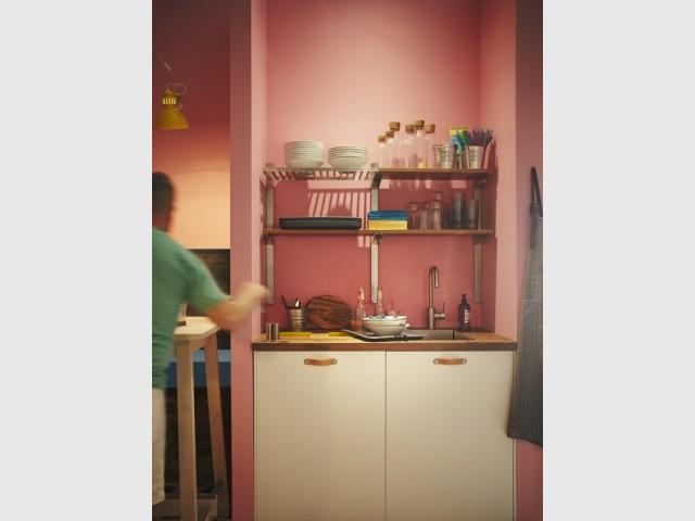 Une kitchenette toute rose