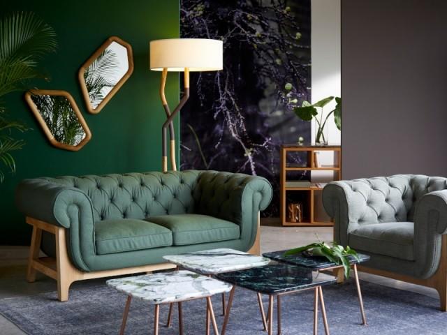 Sofa Cocoon chesterfield dark green wool