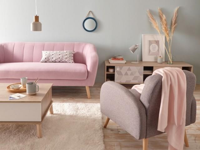 Canapé droit fixe 2 places Nozzi rose parme