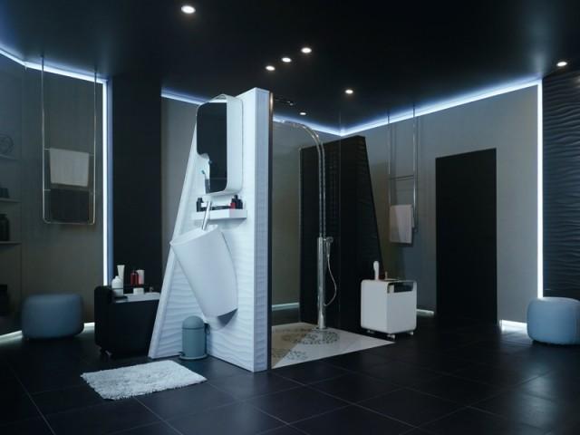 Une salle de bains aux allures de vaisseau spatial