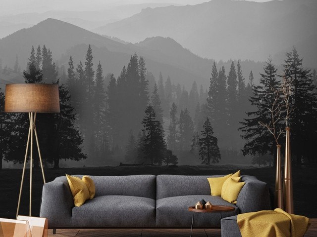 Papier peint panoramique Misty Mountains, Graham & Brown, prix : 135 €
