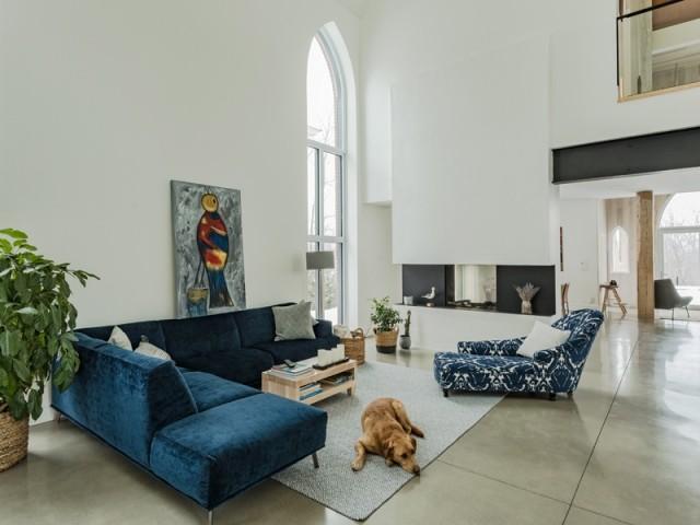 Volumes généreux et plafond cathédrale dans le salon