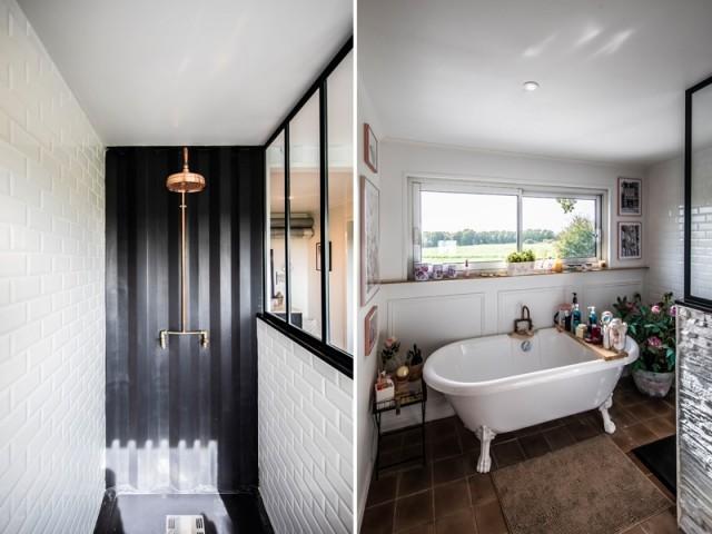 Une salle de bains avec douche et baignoire