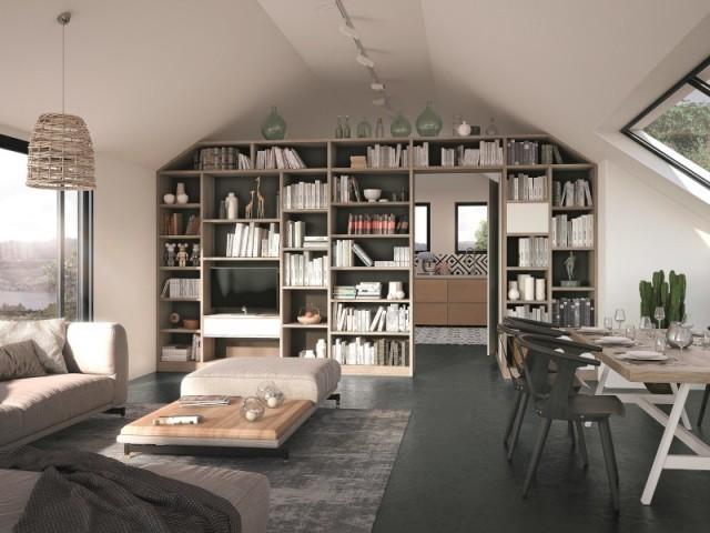Une bibliothèque pour séparer cuisine et salon
