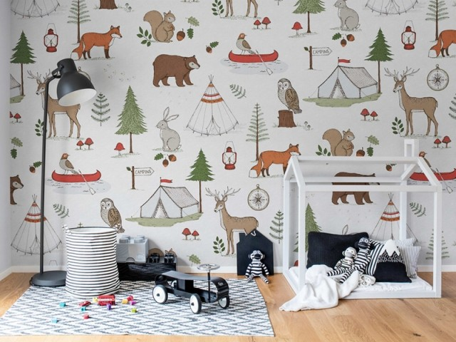 Papier peint Camping Trip, Rebel Walls, prix : 45 €/m2