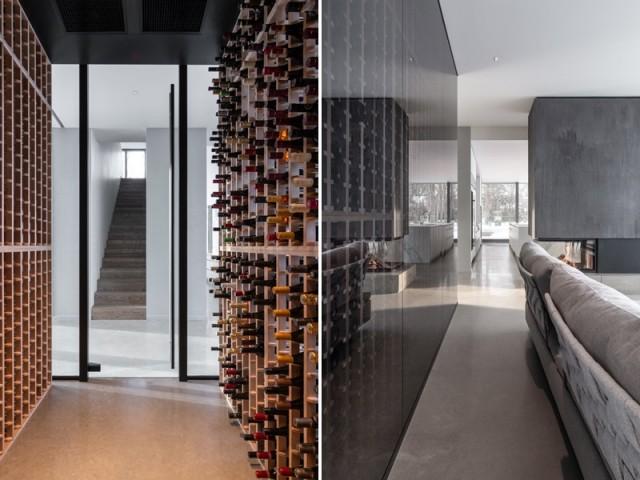 Une cave à vin dissimulée derrière le salon