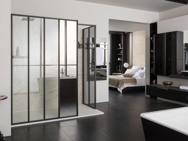 Paroi de douche avec miroir sans teint, Mobalpa, prix : selon modèle