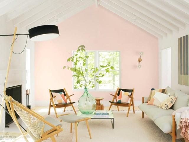 Une touche de rose pastel dans le salon