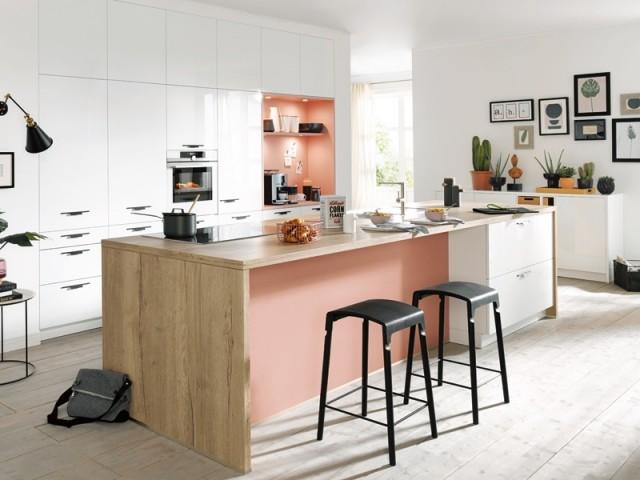 Un mur rose dans la cuisine