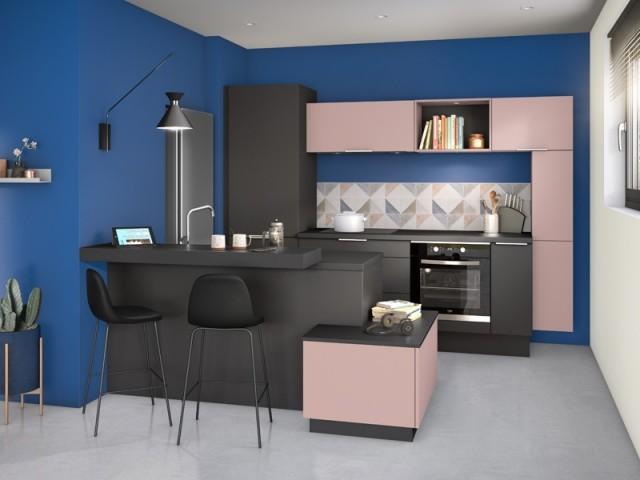 Des meubles de cuisine roses