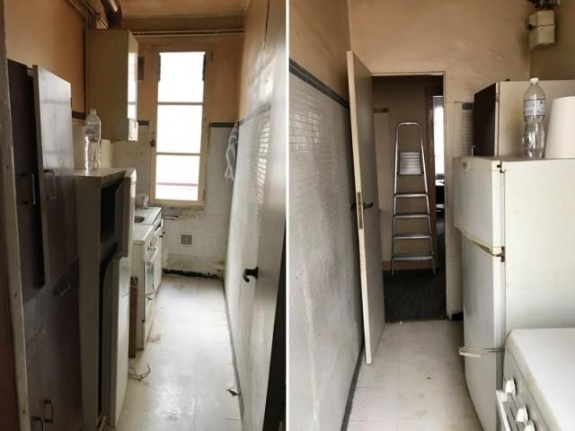 Avant : une vieille cuisine transformée en salle de bains
