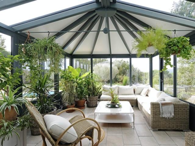 Un jardin d'intérieur dans la véranda