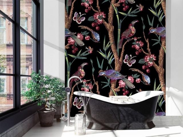 Décor panoramique Chinoiserie (largeur 195 cm), Etoffe.com, prix : 514 €