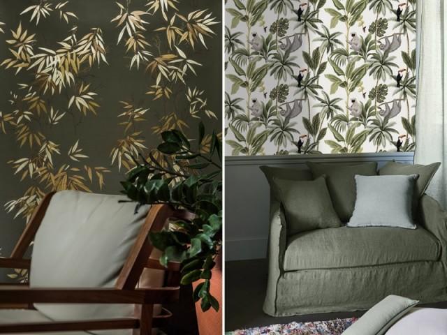 Papier peint Bambous vert doré, Isidore Leroy / Papier peint Ariel, Madura