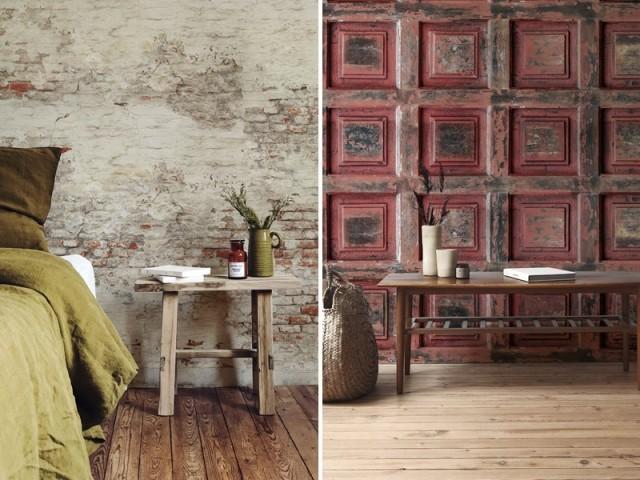 Papier peint Old Brick Wall et Red Vintage Wood, Les Dominotiers