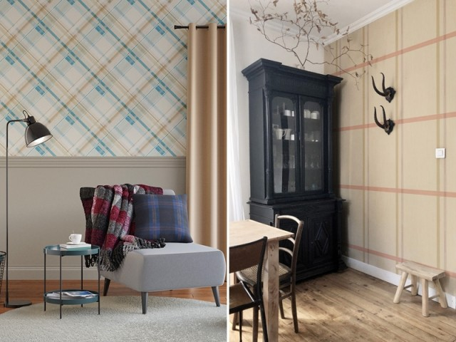 Papier peint Tartan écossais, 4 Murs / Papier peint César, Billie Blanket x Mues Design