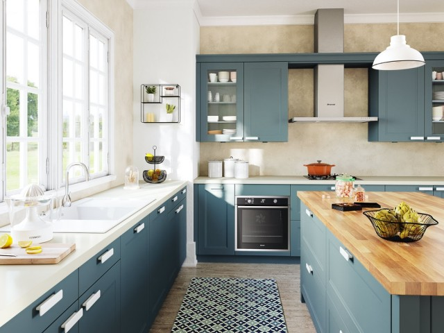 Une cuisine toute bleue