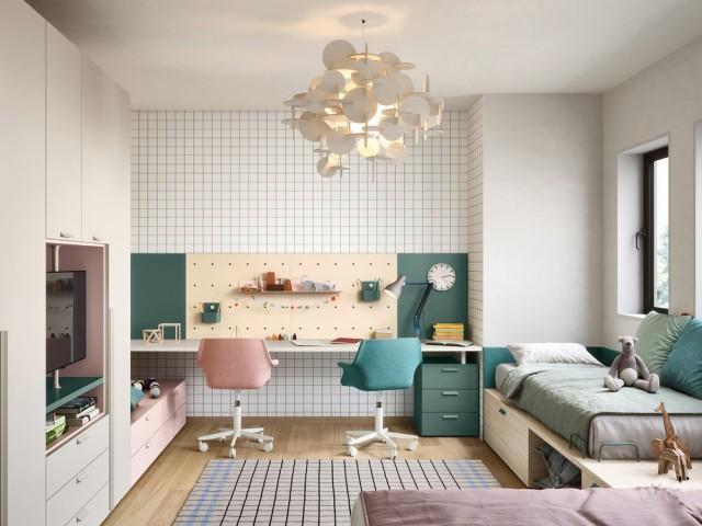 Des lits jumeaux et un bureau double