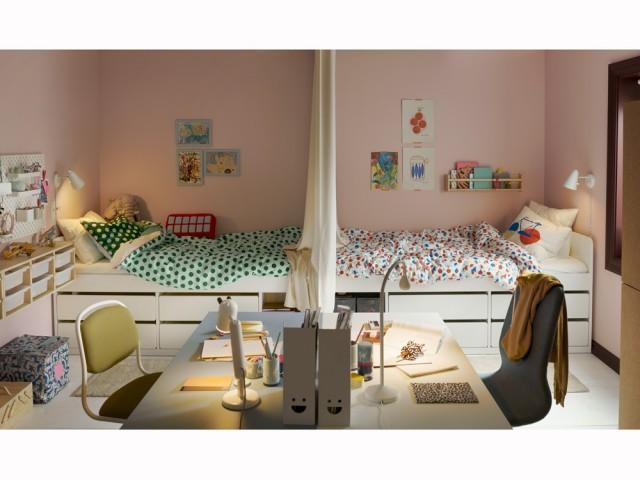 Un rideau pour partager l'espace dans une chambre